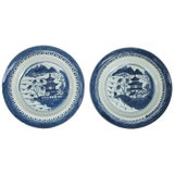 Image of Pair of Canton Blue and White Plates For Sale