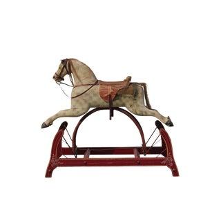 Antique Childs Wooden Rockinghorse Glider For Sale