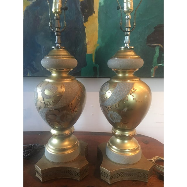 Mid-Century Hollywood Regency Gilt Lamps - A pair - Image 6 of 11