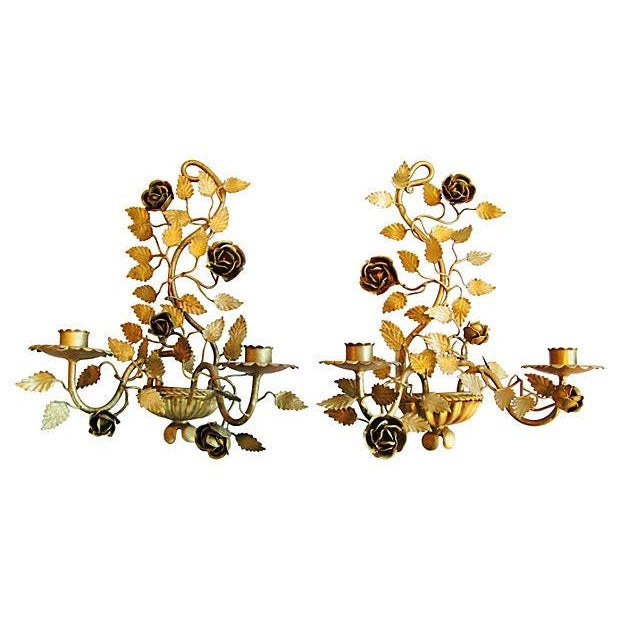 Mid-Century Italian Floral Candle Sconces - A Pair - Image 1 of 7