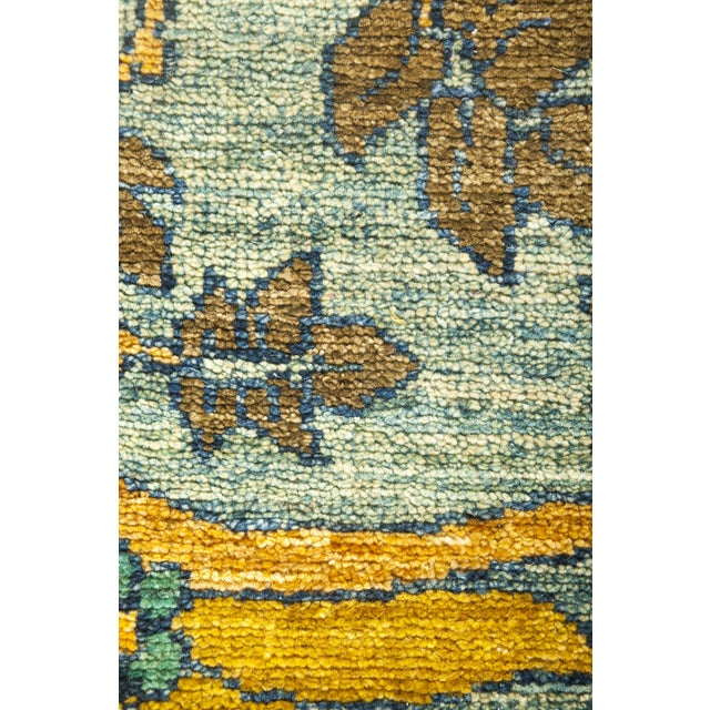 Arts & Crafts Blue and Pink Arts and Crafts Runner Rug For Sale - Image 3 of 4