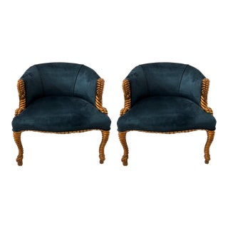 Italian Gilt and Velvet Rope & Tassel Chairs-Pair For Sale