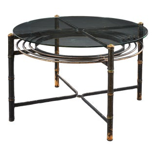 Jacques Adnet (1900-1984) - Circa 1960 - High Table in Black Stitched Leather For Sale