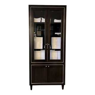 Custom Jeffrey Beers Glass & Mahogany Wood Display Cabinets With Brushed Nickel Inlay & Interior Lighting For Sale