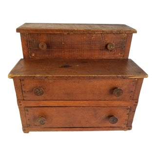 "Primitive Dresser Top Chest 3 Drawer Display Antique Wooden Handmade 121/2"" For Sale"