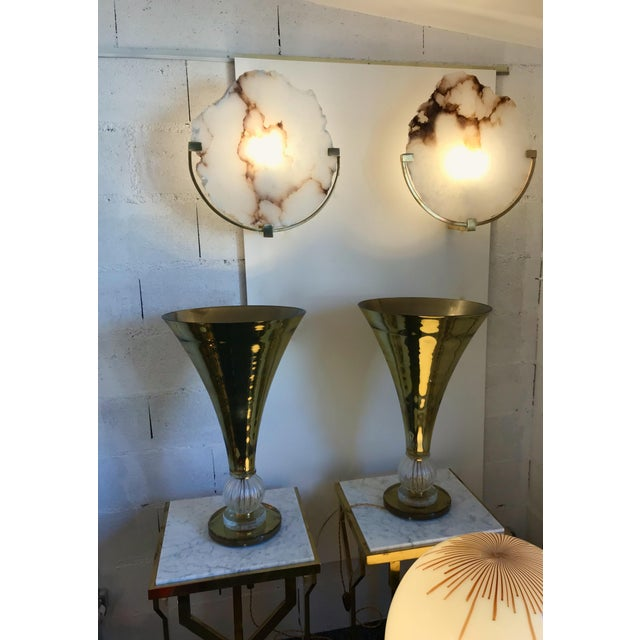 Contemporary Contemporary Pair of Sconces Alabaster and Brass. Italy, 2017 For Sale - Image 3 of 13