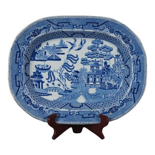 Antique Burslem Staffordshire Stoneware Blue Willow Transferware Platter For Sale