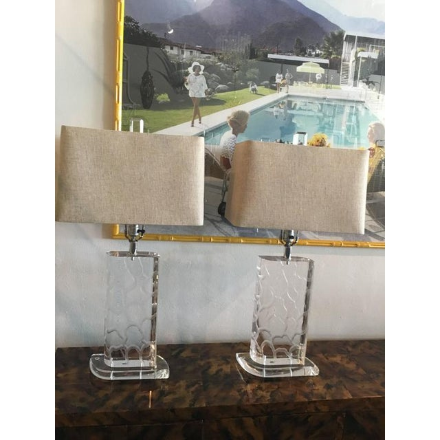 Van Teal Lucite Table Lamps - a Pair - Image 8 of 12