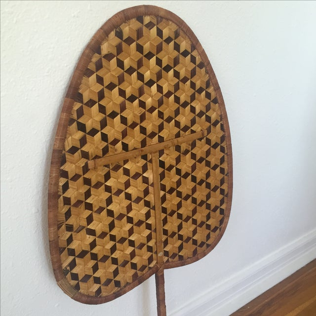 Vintage Bamboo Woven Reed Fan For Sale - Image 4 of 8