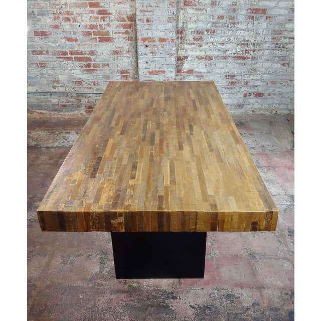 1970s Vintage Butcher Block Style Dining Table W/Ebonized Base For Sale - Image 5 of 10