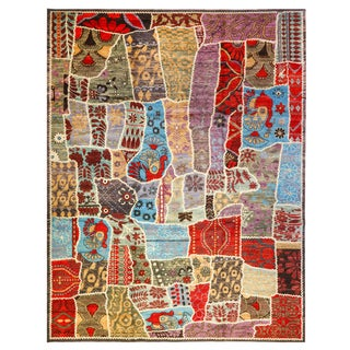 """Afghan Patch Crafted Rug-10'x13'6"""" For Sale"""