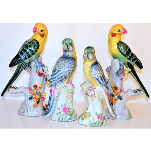 Ceramic (Final Mark Down Taken) Chinese Export Porcelain Parrot Figurines - Set of 4 For Sale - Image 7 of 12