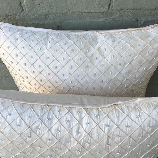 Cream Silk Pearled Pillows - Pair - Image 4 of 5