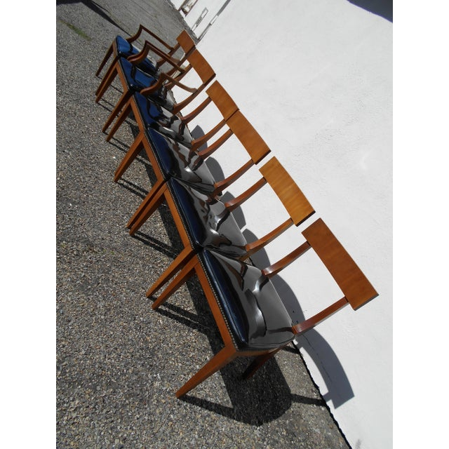 Mid-Century Patent Leather Dining Chairs - Set of 6 - Image 4 of 11