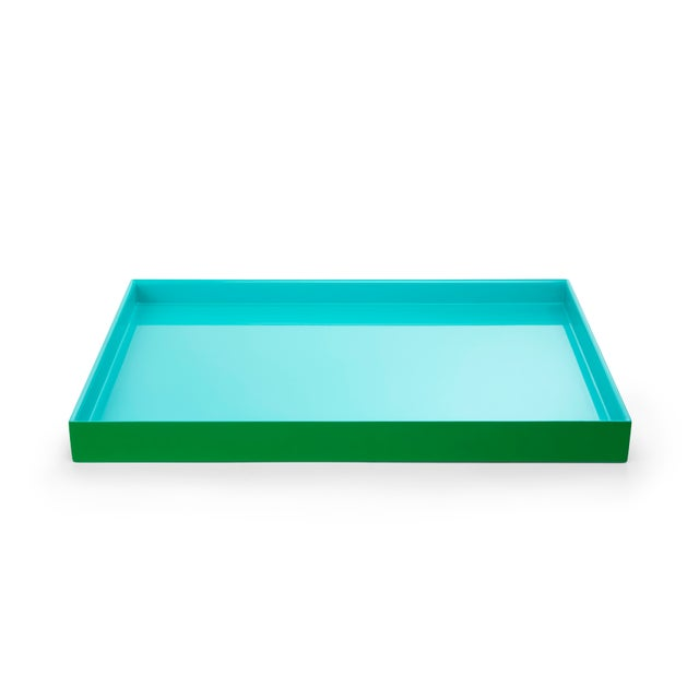 The Lacquer Company Pentreath & Hall Collection Medium Tray in Kelly Green / Tiffany Blue For Sale - Image 4 of 4