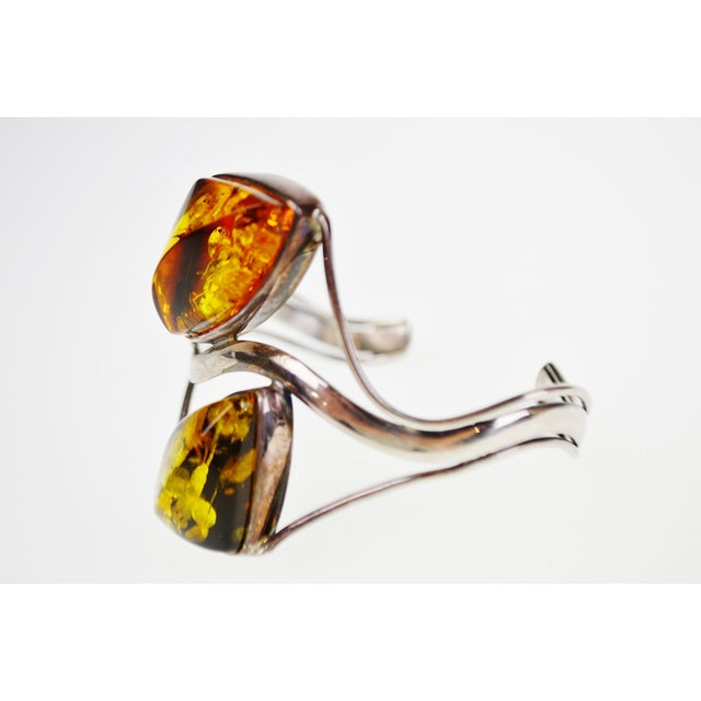 Gemstone Vintage Sterling Silver Cuff Bracelet With Amber Stones For Sale - Image 7 of 11