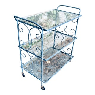 Vintage Wrought Iron and Glass Cart For Sale