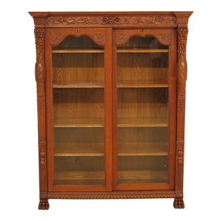 RJ Horner Victorian Oak Sliding Door Bookcase W. Carved Lions