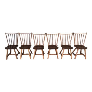 Vintage Mid-Century Hunt Country Furniture Birdcage Dining Chairs/Windsor Chairs - Set of 6