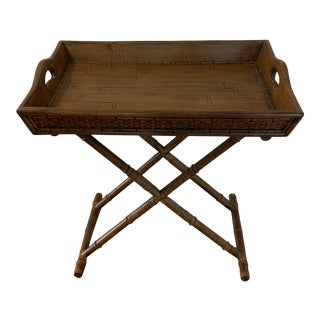 1960s Mid Century Faux Bamboo and Rattan Folding Tray Table For Sale