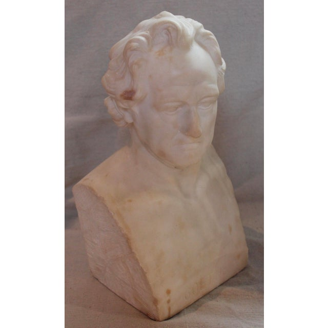 Bust of Johann Wolfgang Von Goethe, German writer. Signed Suteur. Circa late 19th-century. Minor discoloration to marble.