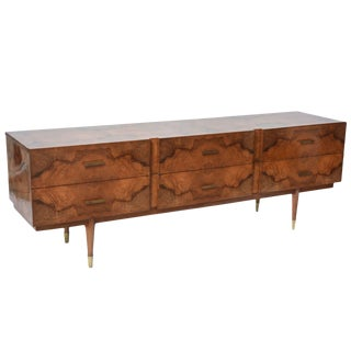 Italian Modern Root Wood Six-Drawer Buffet or Chest of Drawers, Style of Ponti