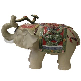 Asian Detail Handmade Ceramic Elephant Trunk Holding Ru Yi & Power Dragon Decor Back Rest For Sale