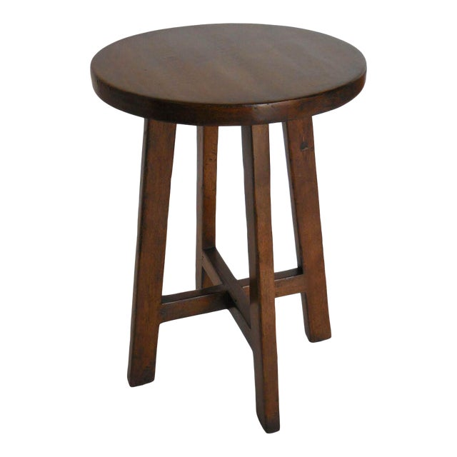 Custom Round Walnut Wood Side or End Table For Sale