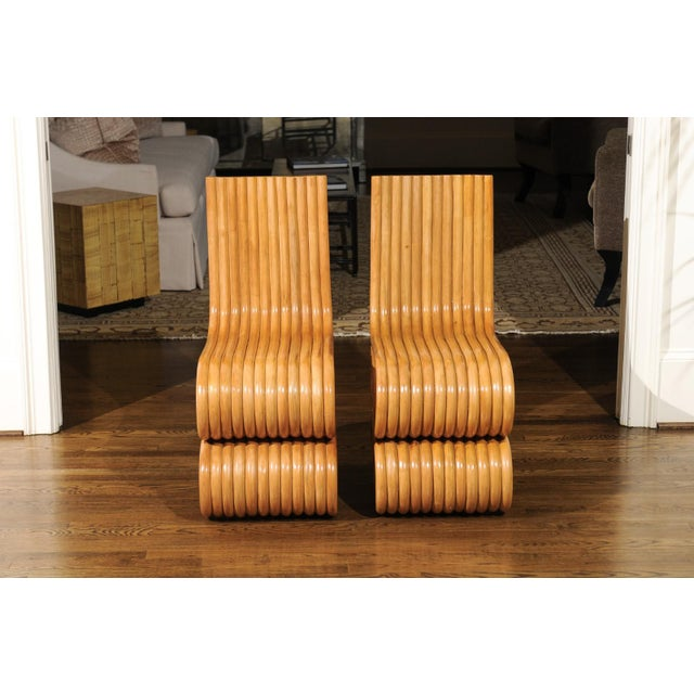 Exquisite Set of 8 Radiant Custom-Made Rattan Dining Chairs, Circa 1995 For Sale - Image 10 of 13