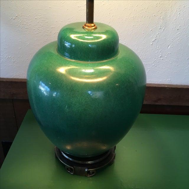Large Jade Green Porcelain Glazed Lamp - Image 3 of 6