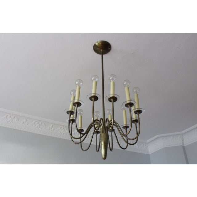 Brass 1960s Mid-Century Modern Brass & Lucite Chandelier For Sale - Image 8 of 8