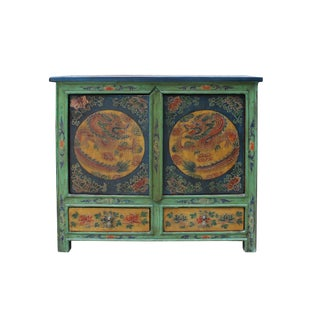 Chinese Multi-Color Tibetan Dragons Motif Small Table Cabinet For Sale