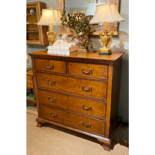 19th Century English Walnut Five Drawer Chest For Sale - Image 4 of 12