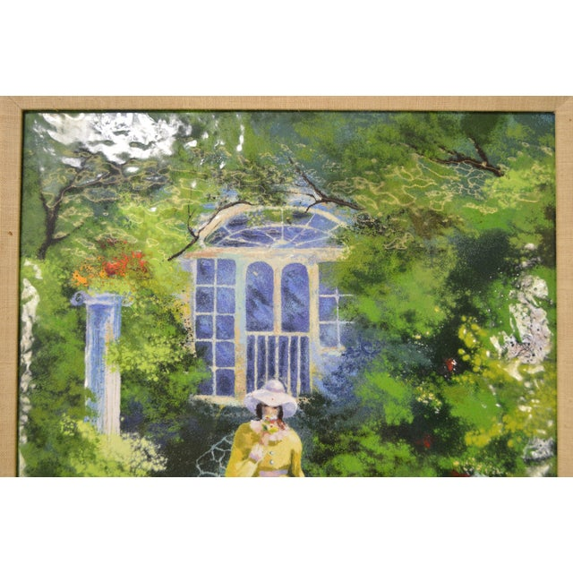 *STORE ITEM #: 16531-fwmr Parthesius Enamel on Copper Southern Belle Framed Painting AGE / ORIGIN: Approx. 25 years,...