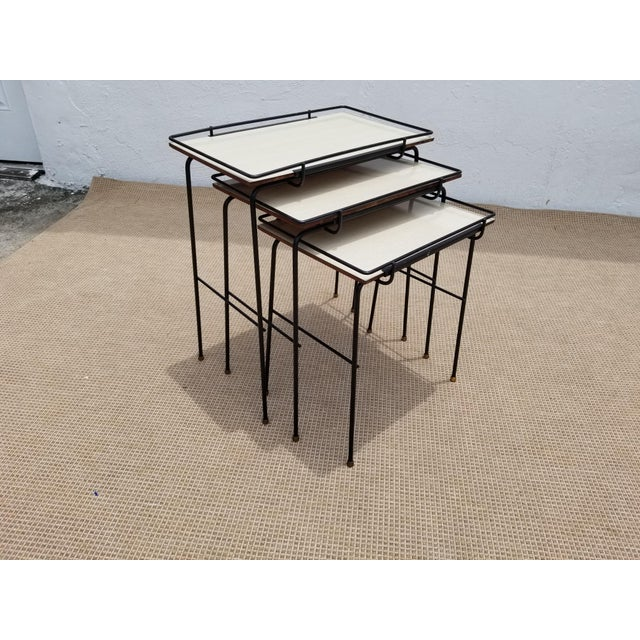 Mathieu Mategot Style Nesting Tables - Set of 3 For Sale - Image 12 of 12