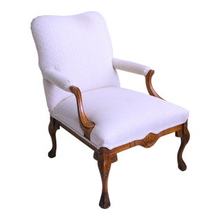 1960s Vintage Carved Clawfoot French Provincial Louis XV Cabriolet Mod Bergere Arm Chair For Sale