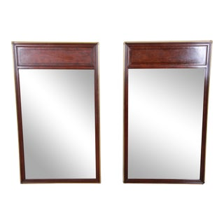 Baker Furniture Hollywood Regency Campaign Burl Wood and Brass Framed Wall Mirrors - a Pair For Sale