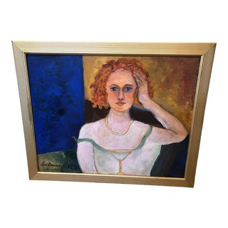 Late 20th Century Self-Portrait of Lois Dascher Painting, Framed For Sale