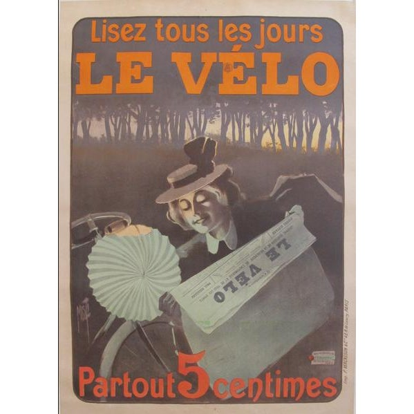 Art Deco 1899 Original Vintage French Newspaper Advertisement Poster, Lisez Le Velo For Sale - Image 3 of 3