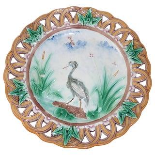 19th Century Victorian Wedgwood Majolica Heron Reticulated Plate