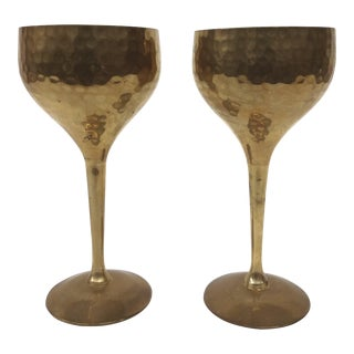 Solid Brass Hammered Wine Goblets - a Pair For Sale