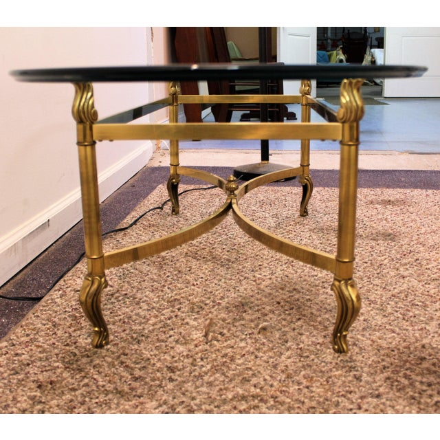 Regency Brass Base & Glass Top Coffee Table - Image 6 of 10