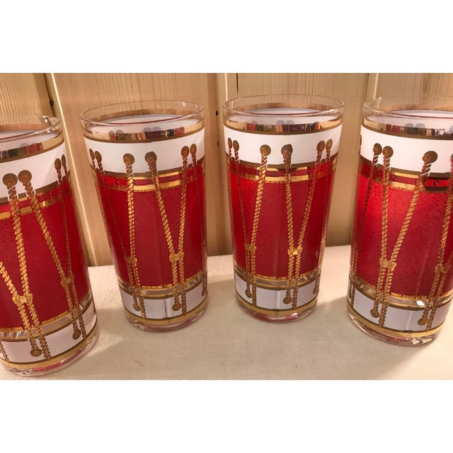 Mid-Century Modern Red Gold & White Highball Cocktail Glasses - Set of 6 - Image 4 of 9