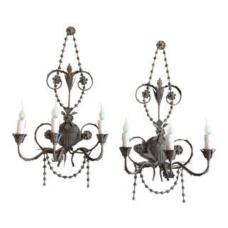 Neoclassical Aidan Gray Tole Sconces - A Pair For Sale