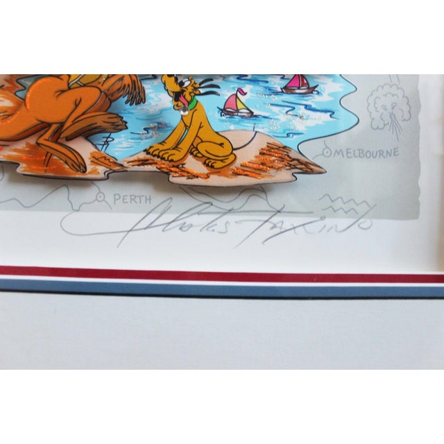 Mickey's World Tour 3d Framed Art by Charles Fazzino For Sale In Detroit - Image 6 of 10