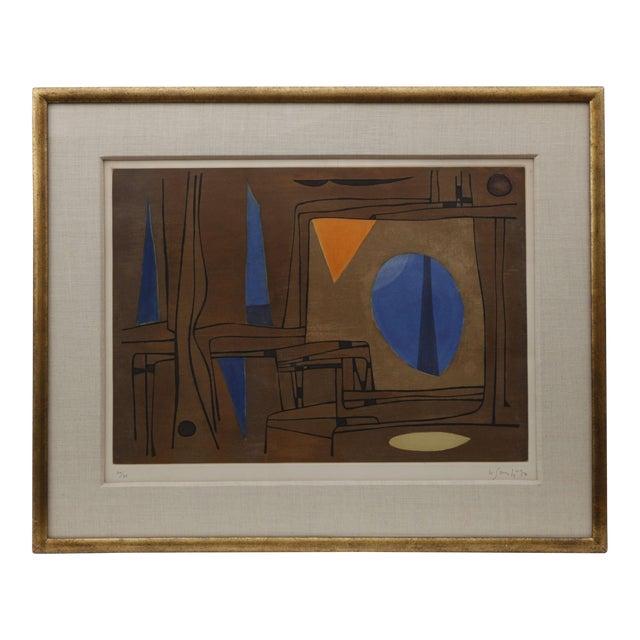 1960s Brown, Blue, and Orange Abstract Print - Image 1 of 5