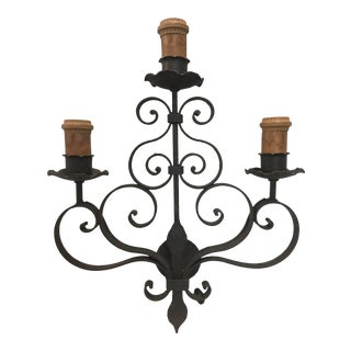 Wrought Iron Wall Sconce For Sale