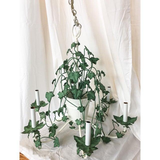 Italian Tole Ivy Basket Six-Arm Chandelier For Sale - Image 5 of 8