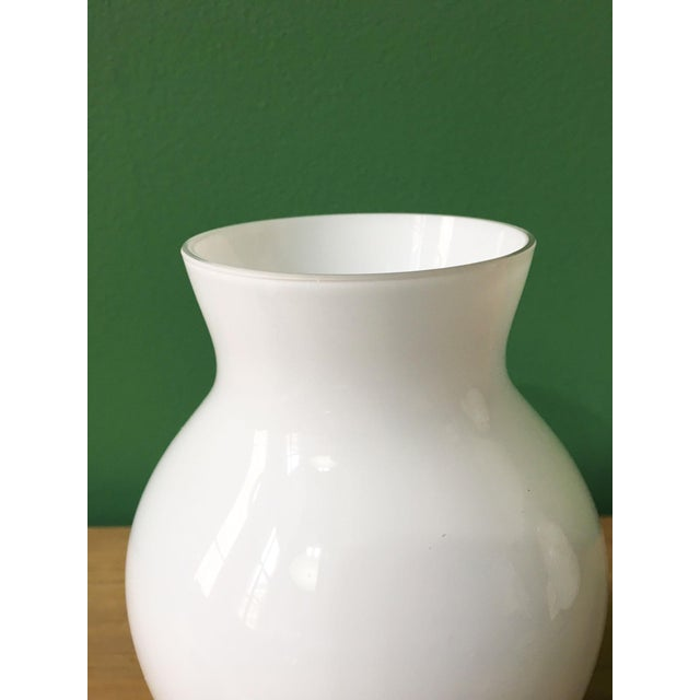 Vintage white Crown Staffordshire glass vase with original sticker on the base.