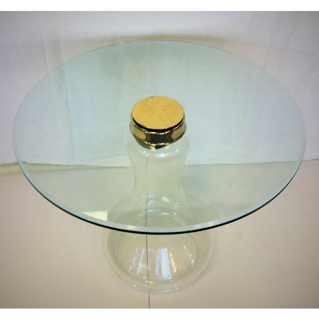Mid-Century Modern Sarreid Ltd. Glass and Brass Side Table For Sale - Image 3 of 4
